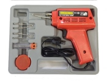 Electric Soldering Gun Kit 100 Watts With Case Flux Wire - Full Set