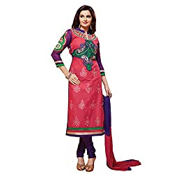 Fabfirki Pink and Blue Cotton Unstitched Salwar Suit