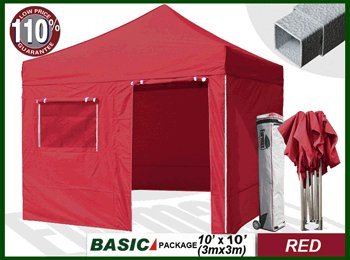 Eurmax Basic 10 x 10 Pop up Canopy Instant Outdoor Party Tent Shade Gazebo With 4 Removable Zipper End Sidewalls Bonus Wheeled Storage Bag and 10ft Awning. (Red) picture