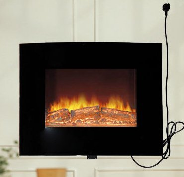 Review HomCom 26 Wall Mount 1500w Electric Fireplace Heater w/ Remote Control