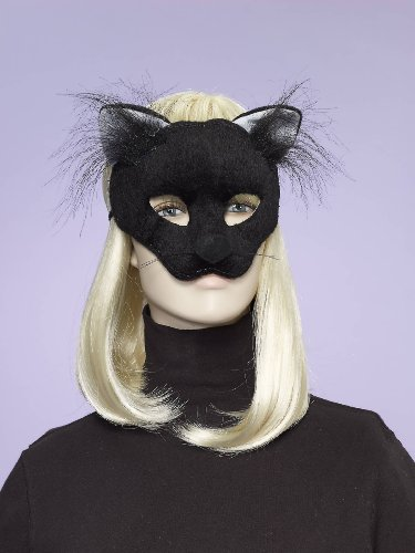 Deluxe Fuzzy Animal Mask Adult: Black Cat Select Size: One Size