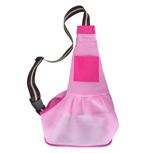LUXMO Pet Dog Puppy Cat Carrier Shoulder Sling Bag Outward Stylish Nylon Cloth (Pink Size: S)