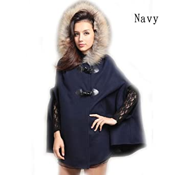 richmondcup manteau femmes capuche poncho cape hiver chele faux fourrure laine. Black Bedroom Furniture Sets. Home Design Ideas