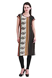 kanah shri 3/4th long Kurti With Round Neck Fabric Cotton with Black Colour For Women