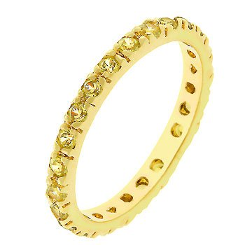 14k Gold Bonded Eternity Ring with Channel Set Yellow Cz in Gold Tone Women's Jewelry (10)