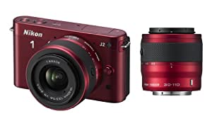 Nikon 1 J2 Compact System Camera with 10-30mm and 30-110mm Double Lens Kit - Red (10.1MP) 3 inch LCD