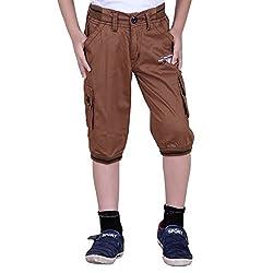 Naveens Brown 3/4 Th Printed Boys Capri_ 9-10 Years