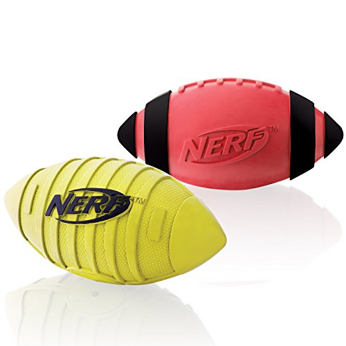 Nerf Dog Squeak Rubber Football Dog Toy, Medium/Large, (2-Pack), Red and Green (Puppy Football compare prices)