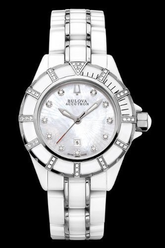 Accutron by Bulova Ladies Mirador Ceramic and Stainless Diamond Watch 65R137