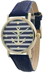 Women's Geneva Striped Anchor Style Leather Watch - Navy