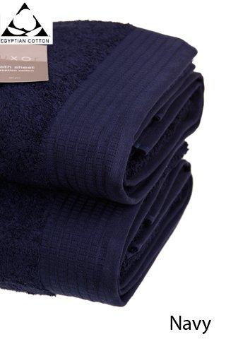 Pair of NAVY BLUE Bath Sheets, Prestige 'Luxor' Egyptian Cotton 650gsm, 150cm x 100cm