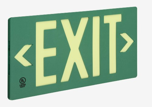 Glo Brite 7040-B 8-3/2-by-15.375-Inch Single Faced Eco Exit Sign with Frame, Green