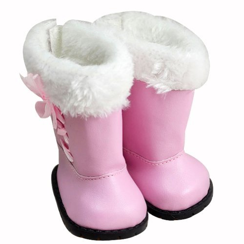 "Ebuddy ® Winter Warm Pink Snow Shoes Boots for 18"" Doll Clothes - 1"
