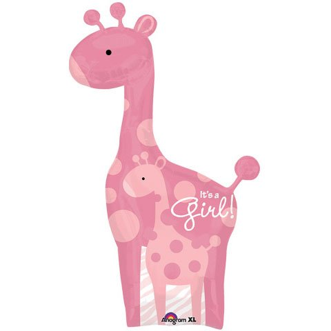 "Sweet Safari Giraffe Its A Girl 42"" Balloon Baby Shower Jungle Animal Print"