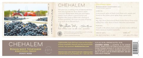 2011 Chehalem Ridgecrest Vineyards Pinot Noir 750 Ml
