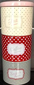 Retro tea coffee sugar ceramic canisters spotted polka dot stacking kitchen jars - Tea coffee sugar stacking canisters ...