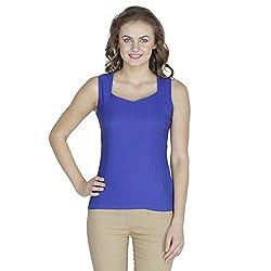 RAMPWALK Polyester Blue S Regular Fit V Neck Tops for women