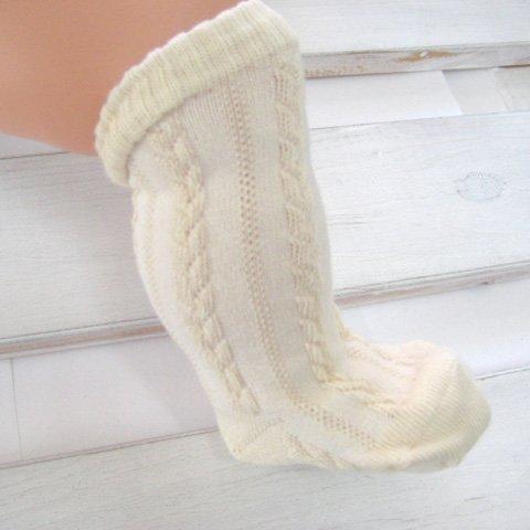 オーガニックコットン 新生児用ソックス 織り柄 ベビー靴下 35502