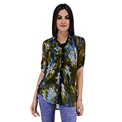 Terquois Printed georgette Shirt (333_Green_XXL)