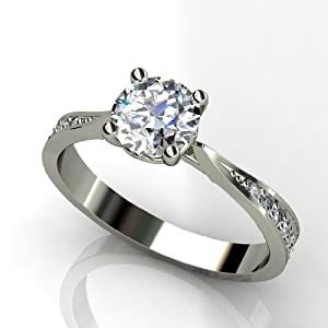 1.25 CARAT ROUND DIAMOND SOLITAIRE RINGS 14k WHITE GOLD - Design: Amzpr-06860 (RING SIZE: 5)