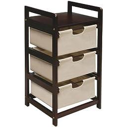 Badger Basket Finish 3-Drawer Hamper/Storage Unit, Espresso with Canvas Bins