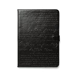 Zenus Lettering Diary Leather Carrying Case with Folio Kickstand for Apple iPad Air, Black (APPD5-MLTDY-BK)