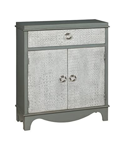 Coast to Coast Solid Embossed 1-Drawer & 2-Door Cabinet, Grey/White