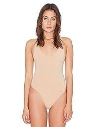 American Apparel Women\'s Cotton Spandex Tank Bodysuit Size L Nude