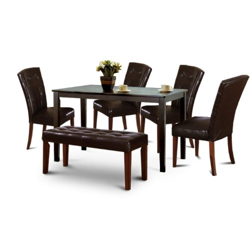 wood dark espresso dining table set 4 parson chairs and bench feature