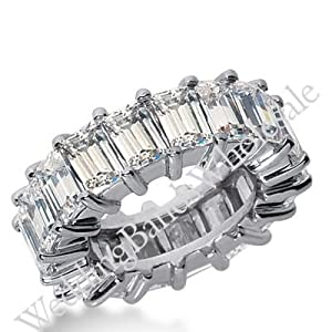 950 Platinum Diamond Eternity Wedding Bands, Shared Prong Setting 12.00 ct. DEB244PLT - Size 10