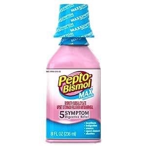 Pepto-Bismol Max 5 Symptom Relief, Including Upset Stomach & Diarrhea 8 Oz (Pack of 3)