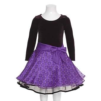 Bonnie Jean Purple Glitter Hipster Christmas Dress Toddler Girls 2T