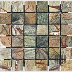 4x4 Sample of Green Rain Forest Brown Tumbled Marble in 2x2 Mosaic Tiles