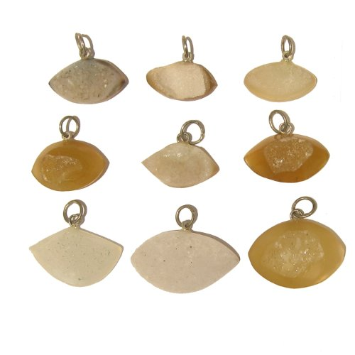 Druzy Quartz Pendant 08 Lot of 9 Yellow Orange Brown White Eye Crystal Healing Gemstone Druze Wholesale
