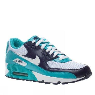 Leather Max Schuhe Sneaker Nike on türkisblauweiß Air 90 WEIH2D9