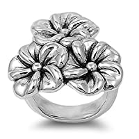 Sterling Silver Ring - Plumeria - 29mm x 5mm (Sizes 6-9)