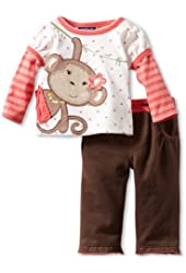 Mini Bean Baby-girls Newborn 2 Piece Monkey Pant Set