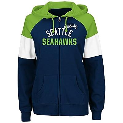 Seattle Seahawks Women's Hot Route Navy Zip Up Hooded Sweatshirt