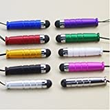 10 in 1 Bundle Mini Capacitive Stylus / Styli Pen - Blue Purple Red Green Gold White Black Pink Silver Chrome - for Compatible Models