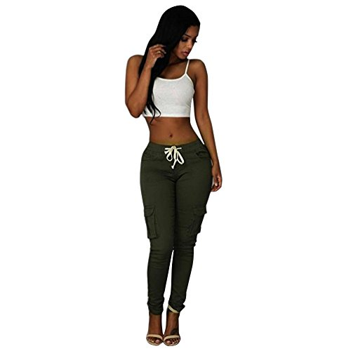 Anboo Fashion Sexy Women Pants High Waist Stretch Slim Pencil Trousers (Large, Green) Button Down Camouflage Shorts