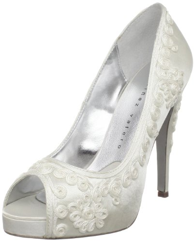 Martinez Valero Women's Olivia Open-Toe Pump,Ivory,11 M US