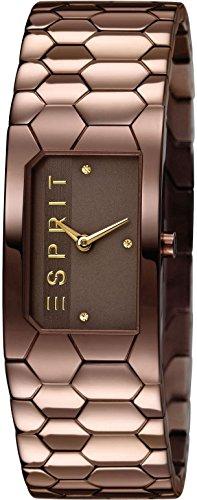 Esprit ES107882004 - Reloj de cuarzo para mujer, correa de acero inoxidable chapado color marrón