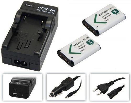 pabuTEL-Bundle-Set 3-in-1per il Sony HDR-PJ410Videocamera Full HD--- 2x batteria (1000mAh) + 4in1caricatore (ecc. con USB/Micro-USB e da auto/auto)