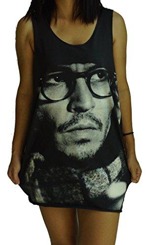 Johnny Depp Vest Tank-Top Singlet T-Shirt M Black (Johnny Depp Tank Top compare prices)
