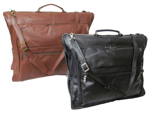 AmeriLeather Leather Three-suit Garment Bag (Black)