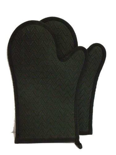 NoBurn Miracle Oven Gloves Pair - Black (Cotton Lined)