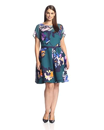 Taylor Dresses Plus Women's Mixed Media Printed Party Dress