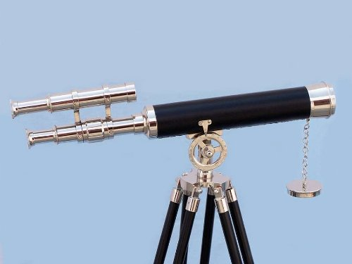 "Chrome/Black Griffith Astro Telescope 44"" - Chrome Decorative Telescope - Nautical"