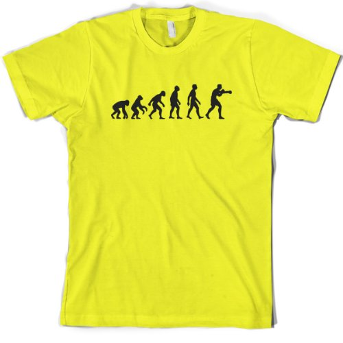 Evolution of Man - Mens Boxing T-Shirt - XL - Yellow