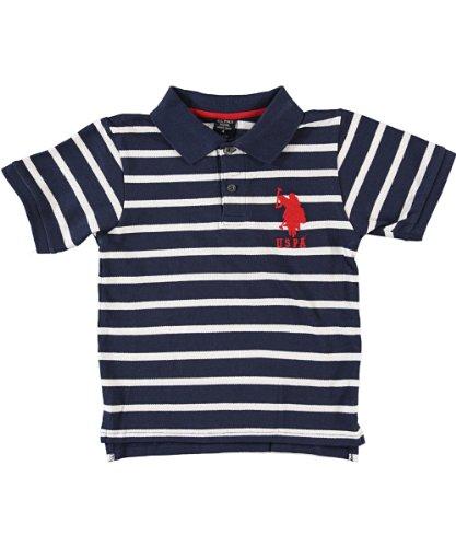 U.S. Polo Assn. Big Boys' Short Sleeve Polo With Narrow Stripes, Navy/White, 10/12